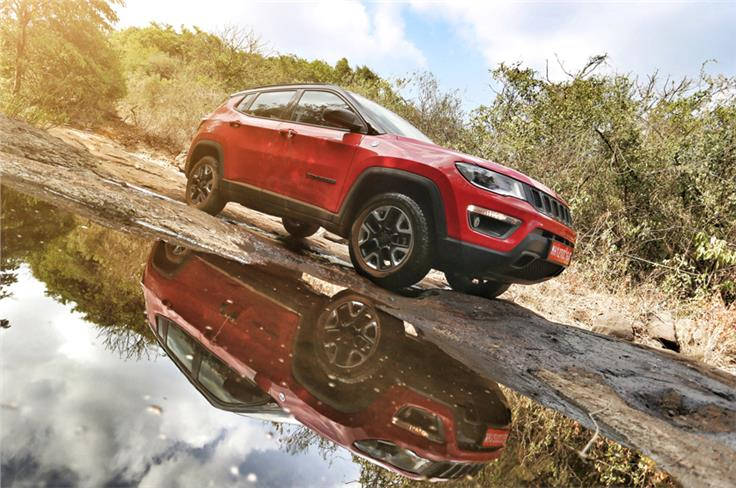 The India-spec Compass Trailhawk misses out on the front tow hooks.