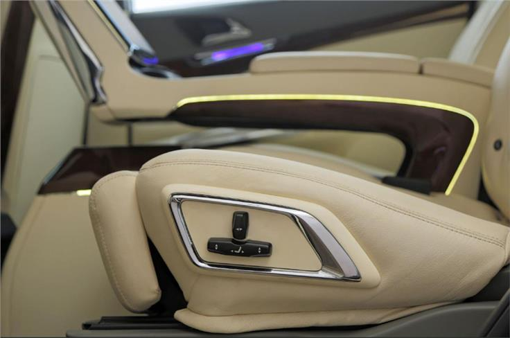 Electronic controls for the second row seats', including a reclining function.