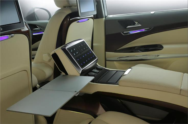 The central screen in the second row controls the seats, lighting and infotainment functions.