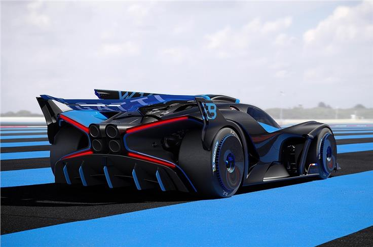 Bugatti claims the rear wing alone produces 1800kg of downforce at around 321.8 kph.