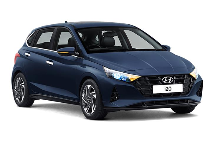 The new Hyundai i20 is available in 6 colours. This one is the Starry Night blue.