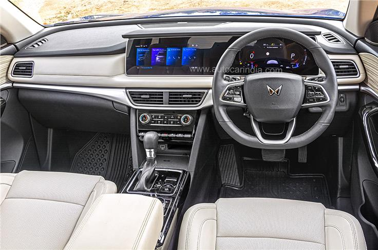 XUV700's dashboard is dominated by two 10.25-inch screens.