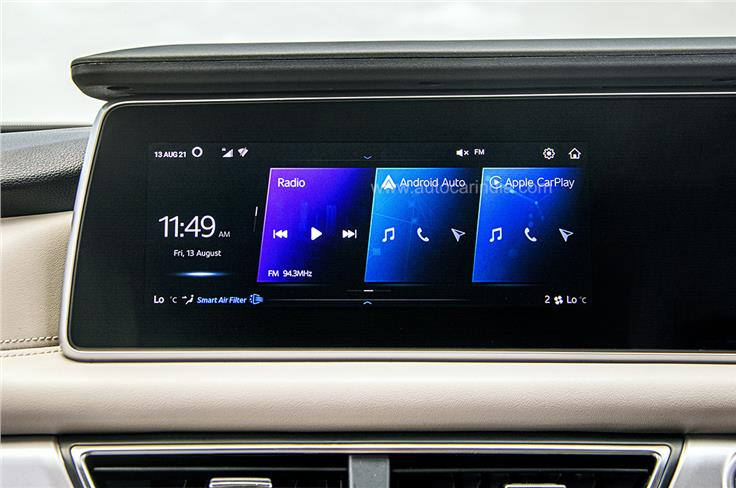 The infotainment system uses Mahindra's new AdrenoX interface with built-in Amazon Alexa virtual assistant.