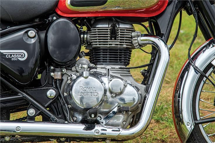 The old Classic's pushrod-valve system is replaced by a SOHC two-valve head.