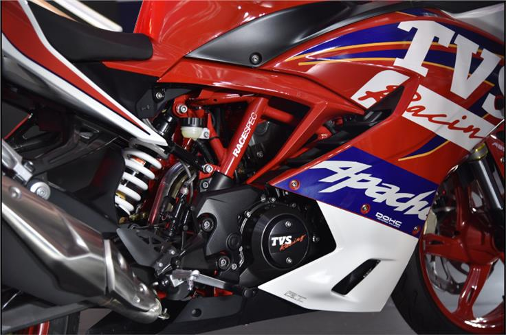 Seen here is the optional Race Replica graphics scheme that costs an additional Rs 4,500.