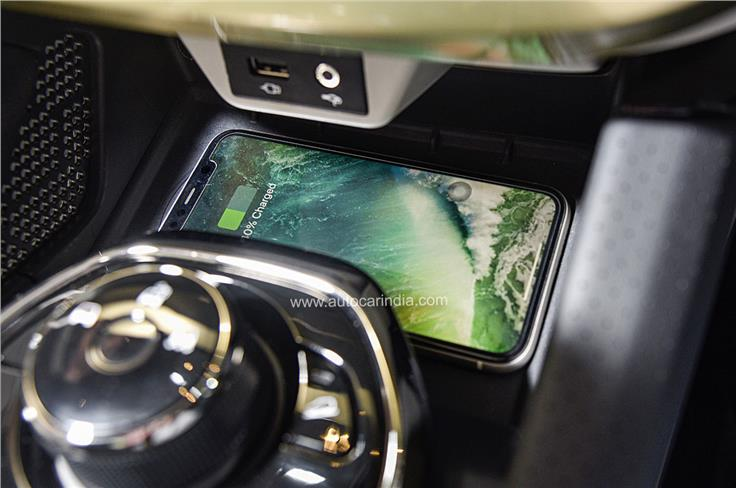 New wireless charging pad located at the base of the centre console.